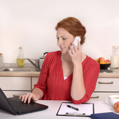 Pretty red haired Woman calling in Home Office — Stok fotoğraf