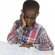 AfricBoy having stress while learning — Stockfoto #37015549