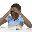Africgirl having stress while learning — Stok Fotoğraf #37015705