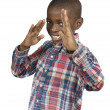 African boy doing martial arts — Stock Photo