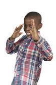 Niño africano haciendo artes marciales — Foto de Stock