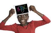 African Girl holding Minitablet PC, ABC Illustration — Stock Photo