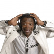 Africartist having fun with head phones — Stock Photo #38623577