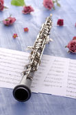Oboe with notes and summer feeling — Stock Photo