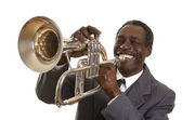 Afroamerican Jazz Musician with Flugelhorn — Stock Photo