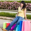 Tired Woman Shopping In The City — Stock Photo
