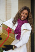 Happy Woman Christmas Shopping — Stock Photo