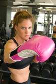 Woman In Pink Boxing Gloves 6 — Stock Photo