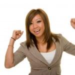Ecstatic Asian Business Woman — Stock Photo