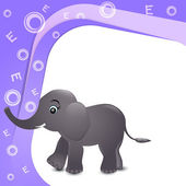 Alfabe e için fil çizimi — Stok Vektör