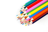 Coloring pencils bundled together on white background — Stock Photo