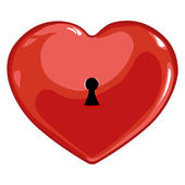 Vector red heart with a keyhole — Vector de stock