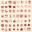 Red mobile icons — Stock vektor