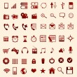 Red mobile icons — Vector de stock