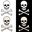 Vector skull and crossbones on white and black backgrounds — Stock Vector