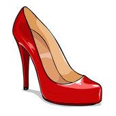 Röd kvinnor skor — Stockvektor