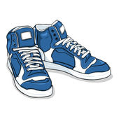 Vector pair of new blue sneakers — Stock Vector