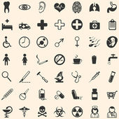 Vector set of 49 medical icons — Stock Vector