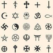 Vector set of religious symbols — Stock Vector