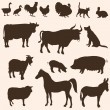 Vector silhouettes  of farm animals — Stock Vector