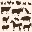 Vector silhouettes of farm animals — Stock vektor