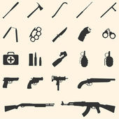 Vector weapon icons — Stock Vector