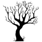 Vector black silhouette of a bare tree — Stock Vector