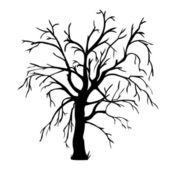 Silueta vector negro de un árbol desnudo — Vector de stock