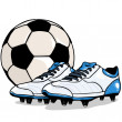 Vector football ball and boots — Stock Vector