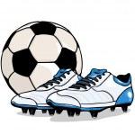 Vector football ball and boots — Stock Vector
