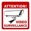Warning: attention! video surveillance — Imagens vectoriais em stock