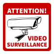 Warning: attention! video surveillance — Stockvectorbeeld
