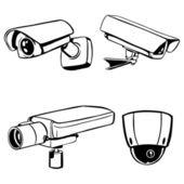 Vektorové siluety cctv kamer — Stock vektor