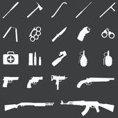 Vector set of 21 white weapon icons — Stock Vector