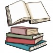 Vector illustrations: blank open book and stack of books — Stock Vector