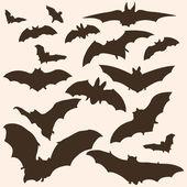 Vector bats silhouettes — Stock Vector