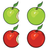 Vector apples set: green and red, whole and bitten — Stock Vector