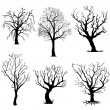 Vector set of silhouettes of trees — Stock Vector #30451451