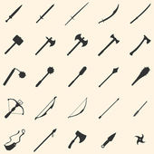 Vector set of 25 medieval weapon icons — Stock Vector
