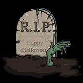 Vector illustration: zombie crawls out of the grave — Vector de stock