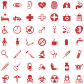 Vector set of 49 red medical icons — Stock Vector
