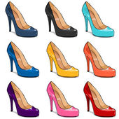 Vector set of color women shoes — Stock Vector