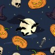 Vector cartoon halloween seamless pattern — Stock Vector