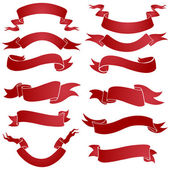 Vector set of red gradient ribbons for your text — Stock Vector