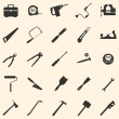 Stock Vector: Vector set of 25 tool icons