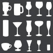 Vector icons set: white stemware on dark background — Stock Vector