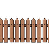 Vector seamless cartoon brown fence — ストックベクタ