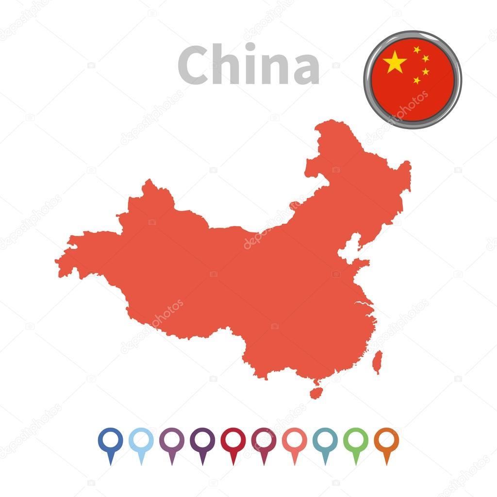 矢量地图和国旗的中国