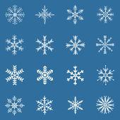Vector conjunto de 16 brancos flocos de neve — Vetor de Stock