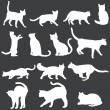 Vector white silhouettes of cats — Stock Vector